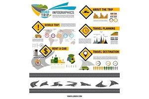 Road trip, travel, car tourism infographic design