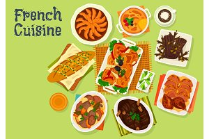 French cuisine festive dinner menu icon design