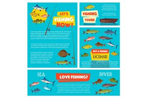 Fishing sport poster and banner template design