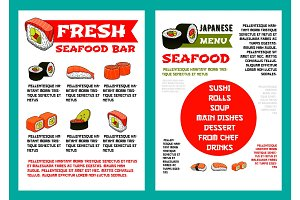 Japanese seafood restaurant, sushi bar menu design