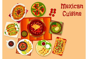Mexican cuisine icon with taco, nacho and sauce