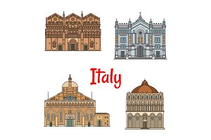 Italian travel landmark thin line icon set design
