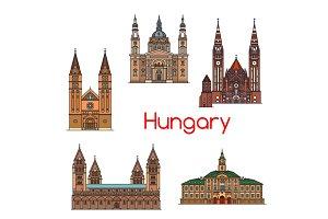 Tourist sight of Hungary thin line icon set