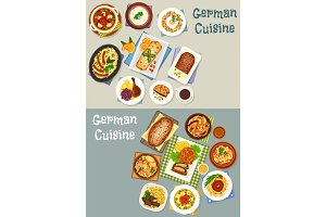 German cuisine festive dinner icon set design