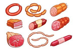 Meat, sausage, bbq product isolate sketch set