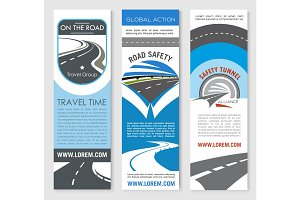 Road banner set for travel and transport design