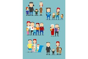 Family activities cartoon characters set