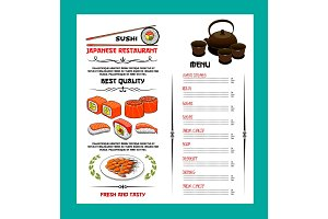 Sushi menu template of japanese cuisine restaurant