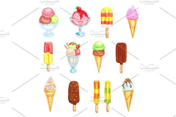 Ice Cream Cold Dessert Food Watercolor Set