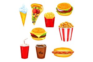 Fast food restaurant lunch menu watercolor set