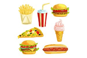 Fast food lunch meal with dessert watercolor set