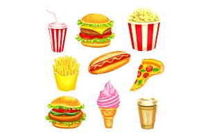 Fast food and drinks watercolor illustration set