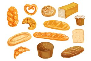 Bread watercolor set for bakery shop design