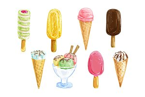 Ice cream set with watercolor summer dessert