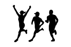 Marathon Runners Silhouette