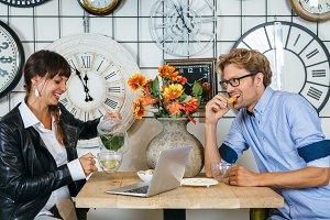 Business people having tea