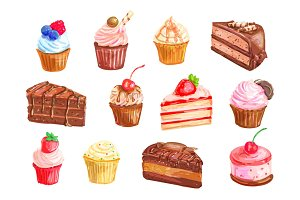 Cake and cupcake dessert watercolor set design