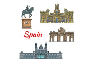 Spanish travel landmark of Madrid linear icon set
