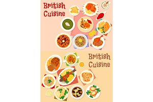 British cuisine icon set for restaurant design