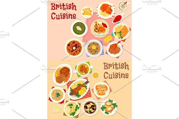 British Cuisine Icon Set For Restaurant Design