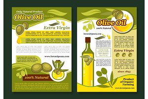 Olive oil poster template for healthy food design