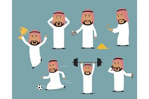 Saudi arabian businessman in different poses set