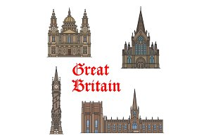 British travel landmark of architecture icon set