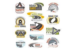 Road highway, turn of freeway, crossroad icon set