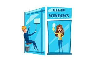 Window cleaning cartoon icon set design
