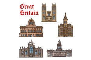 Travel landmark of Great Britain icon set