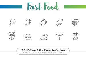 16 Fast Food Outline Stroke Icons