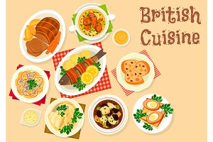 British cuisine tasty dishes icon for menu design