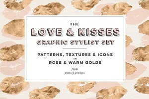 Love & Kisses Golden Graphics Set