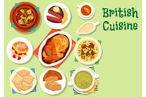 British cuisine healthy food icon for lunch design