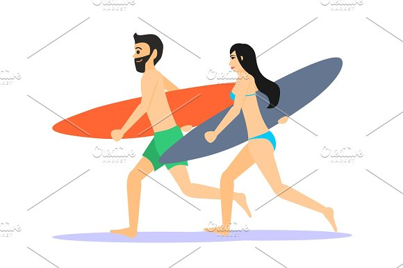 Male And Female Surfers Running