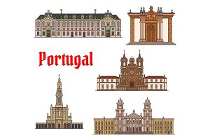 Portuguese travel landmark thin line icon set
