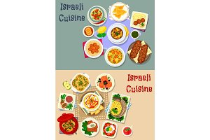 Israeli cuisine Shabbat dinner icon set design