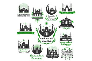 Ramadan Kareem vector greeting icons set