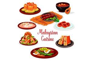 Malaysian cuisine restaurant menu with asian food