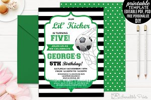 Boy Kicker Birthday Invitation