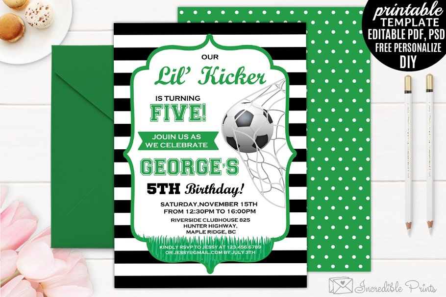 Boy Kicker Birthday Invitation Templates Creative Market
