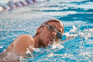Close-up of swimmer man
