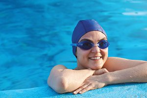 Woman with swimming goggles