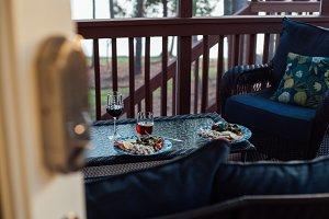 Cosy evening dinner on terrace