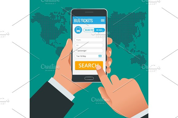 Bus Tickets Booking Online App Phone Concept Book Your Ticket Online And Pay The Amount At Anywhere In The World Vector Illustration