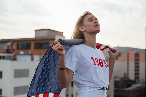Young american blond models on roof