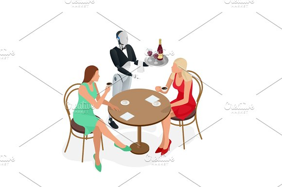 Two Girls Are Sitting In A Cafe Robot Waiter In Tuxedo And Gloves Holding A Wine And Goblets Tray And Napkin Isometric Vector Illustration