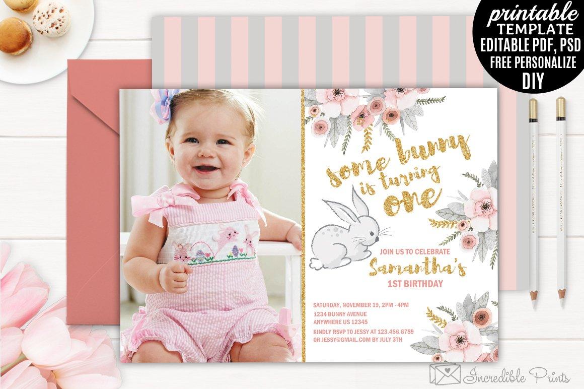 Bunny First Birthday Invitation ~ Invitation Templates ~ Creative Market
