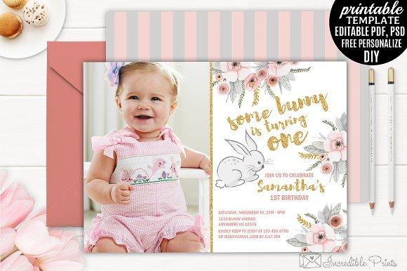 Bunny First Birthday Invitation