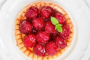 Raspberry Tarts with Mint Leaves